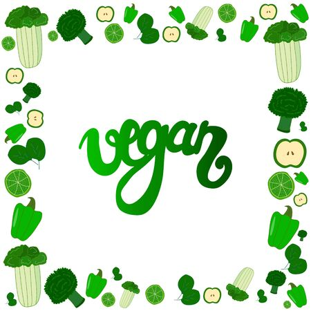 vector vegetable squared frame augmented with Vegan gradient sign. design element, healthy lifestyle theme. Çizim