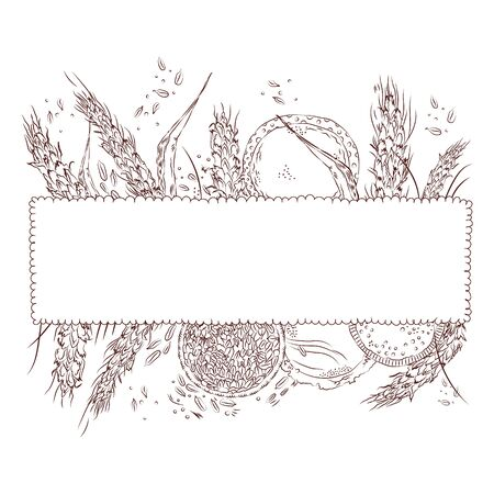 Vector hand drawn monochrome sketchy illustration of a curly-bordered frame decorated with wheat ears and different products. Food, catering, shopping, bakery, rustic themes. Design element. Illustration