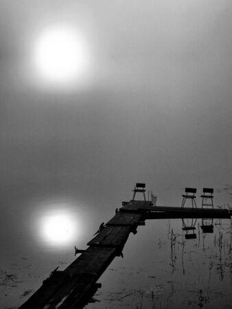 Misty morning on Lake Seliger.