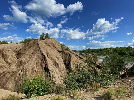 Desert slopes of the Romantsevsky mountains, Tula region, Russia. Stockfoto - 150297927