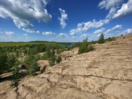 Desert slopes of the Romantsevsky mountains, Tula region, Russia. Stockfoto - 150297929