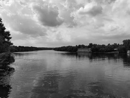 Moscow river before a storm within the city.