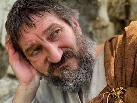 Portrait of an actor in the image of an ancient Greek philosopher.