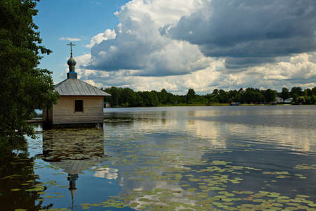 Chapel with a font on the shore of Vvedenskoye Lake.