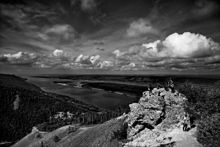 View of the Volga river from the top of the Strelnaya mountain, Zhigulevskie mountains, Russia.