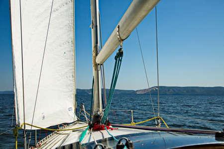 Yachts on the Zhiguli Sea, Togliatti, Russia. Archivio Fotografico
