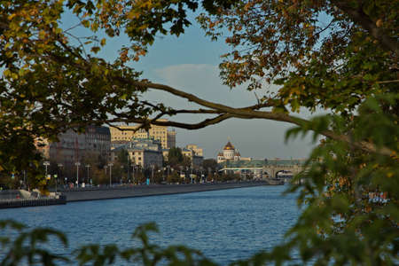 View of the Cathedral of Christ the Savior from the embankment of the Moscow River.