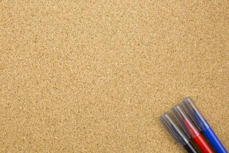 board marker: three color marker on cork board Stock Photo