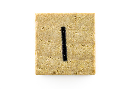 alphabet blocks: Wooden alphabet blocks with letters I (Isolated) Stock Photo