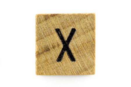 alphabet blocks: Wooden alphabet blocks with letters X (Isolated) Stock Photo