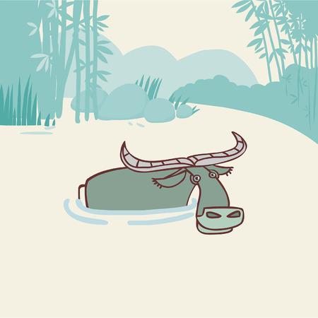 montañas caricatura: ilustración vectorial editable en estilo de dibujos animados