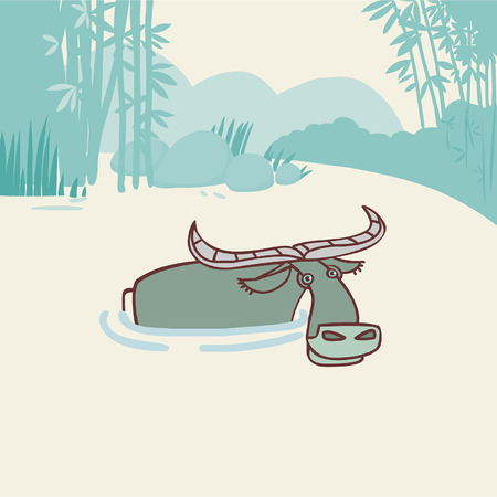 mire: vector editable illustration in cartoon style Illustration