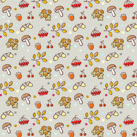 seamless pattern with forest elements, scalable and editable vector illustration Illustration