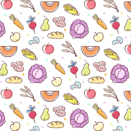 scalable: seamless pattern with food elements, scalable and editable vector illustration