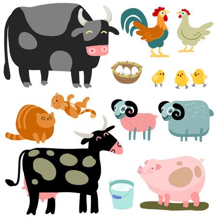 poult: Ilustraci�n de los animales de granja aislados establecido en el fondo blanco Vectores