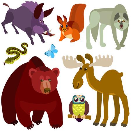 Illustration of isolated farm animals set on white background Vector