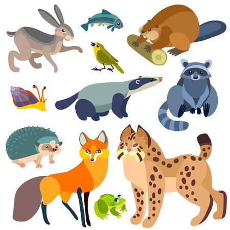 Illustration of isolated farm animals set on white background