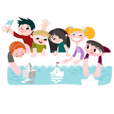 Children and boats. Vector editable illustration in cartoon style