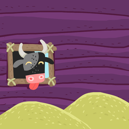 plunder: Funny cow eats hay. Vector editable illustration in cartoon style