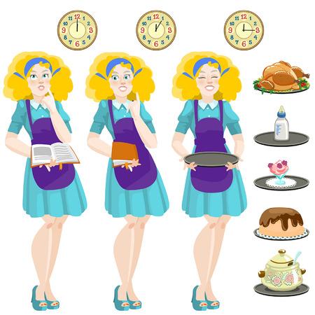 good news: Cute housewife. Vector editable illustration in cartoon style