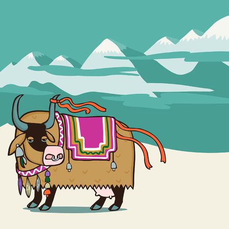 tibetan: Tibetan yak. Vector editable illustration in cartoon style