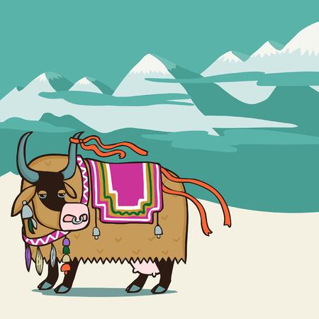 tibet: Tibetan yak. Vector editable illustration in cartoon style