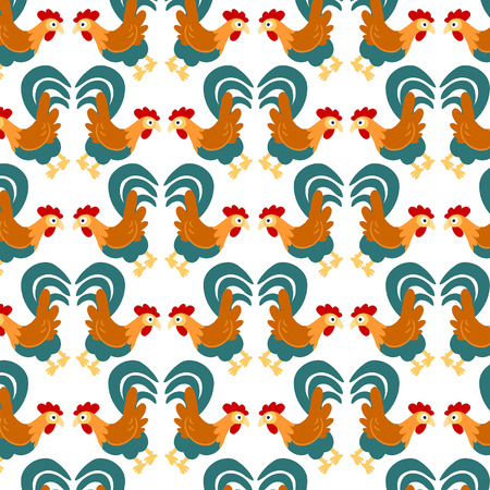Cartoon rooster. Seamless pattern, scalable and editable vector illustration Vector