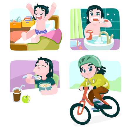 healthy kid: The series is a scalable vector illustration in cartoon style.