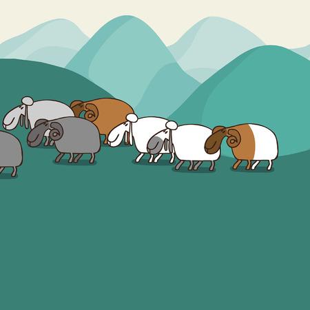 montañas caricatura: Paisaje de montaña con las ovejas. Vectoriales editables ilustración en estilo de dibujos animados