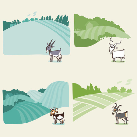 hilly: Rural landscape background with a goat. Vector editable illustration in cartoon style