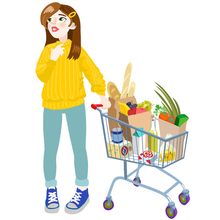A girl with a cart. Vector editable illustration in cartoon style Illustration