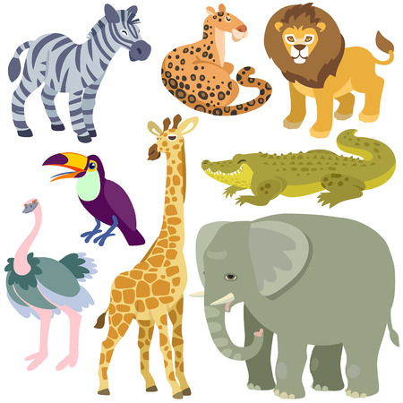 zoo animals: dessin anim� animaux africains d�finis. Illustration des animaux africains isol�s mis sur fond blanc