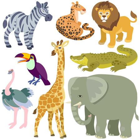 animales del zoologico: dibujos animados animales africanos establecidos. Ilustraci�n de animales africanos aislado Conjunto sobre fondo blanco Vectores