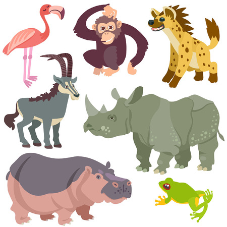 animaux zoo: dessin anim� animaux africains d�finis. Illustration des animaux africains isol�s mis sur fond blanc