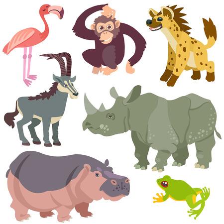 animales del desierto: dibujos animados animales africanos establecidos. Ilustraci�n de animales africanos aislado Conjunto sobre fondo blanco Vectores