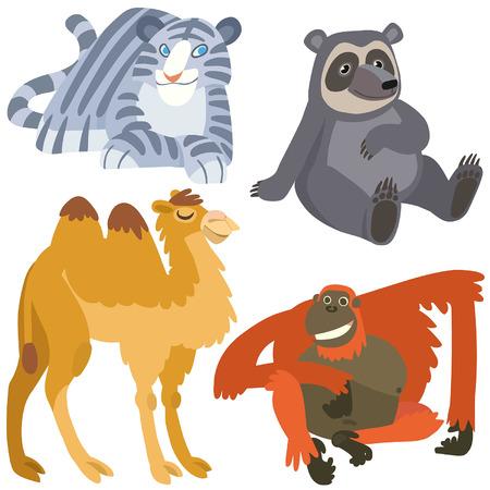 animaux zoo: dessin anim� animaux asiatiques fix�s. Illustration des animaux africains isol�s mis sur fond blanc.