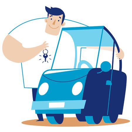 scalable: a man hugs a car. scalable vector illustration in cartoon style