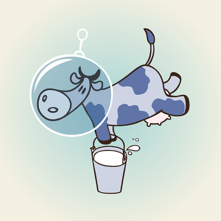 zero gravity: cow in space. vector illustration with space cow Illustration