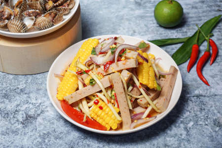 Thai food Pork sausage spicy salad.