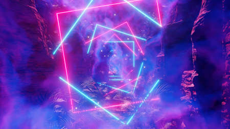 3D illustration Background for advertising and wallpaper in 80s retro and holographic scene. 3D rendering in decorative concept.