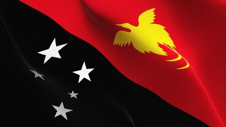 Papua New Guinea flag waving on wind. Papua New Guinean background fullscreen flag blowing on wind. Realistic fabric texture on elevator day.
