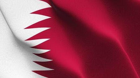Qatar flag waving on wind. Qatari background fullscreen flag blowing on wind. Realistic fabric texture on elevator day.