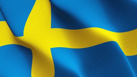 Sweden flag waving on wind. Swedish background fullscreen flag blowing on wind. Realistic fabric texture on elevator day.