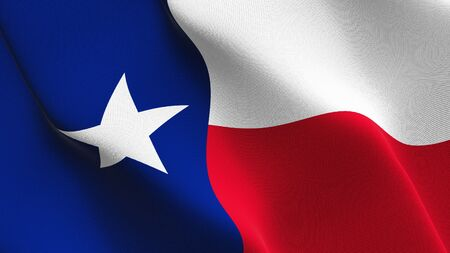 Texas US State flag waving on wind. United States of America Texas background fullscreen flag blowing on wind. Realistic fabric texture on elevator day.
