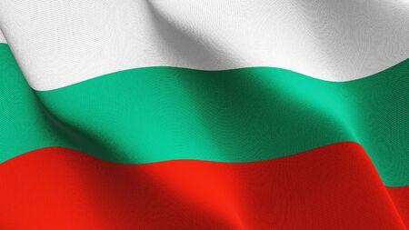 Bulgaria flag waving on wind. Bulgarian background fullscreen flag blowing on wind. Realistic fabric texture on elevator day. Standard-Bild