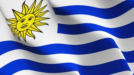 Uruguay flag waving on wind. Uruguayan background fullscreen flag blowing on wind. Realistic fabric texture on elevator day.