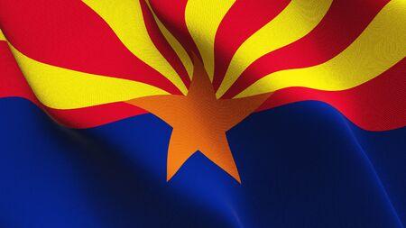 Arizona US State flag waving on wind. United States of America Arizona background fullscreen flag blowing on wind. Realistic fabric texture on elevator day. 免版税图像