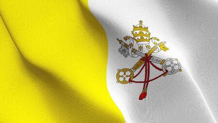 Die Flagge der Vatikanstadt weht im Wind. Vatikan-Hintergrund-Vollbild-Flagge weht im Wind. Realistische Stoffbeschaffenheit am Aufzugstag.