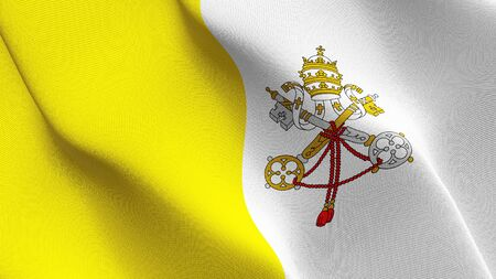 Vatican City flag waving on wind. Vatican background fullscreen flag blowing on wind. Realistic fabric texture on elevator day.