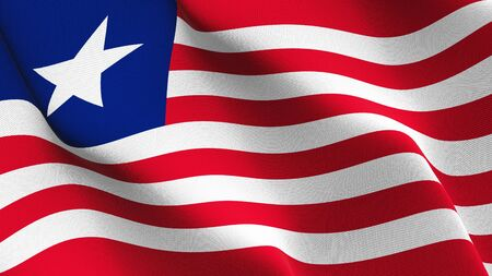 Liberia flag waving on wind. Liberian background fullscreen flag blowing on wind. Realistic fabric texture on elevator day.